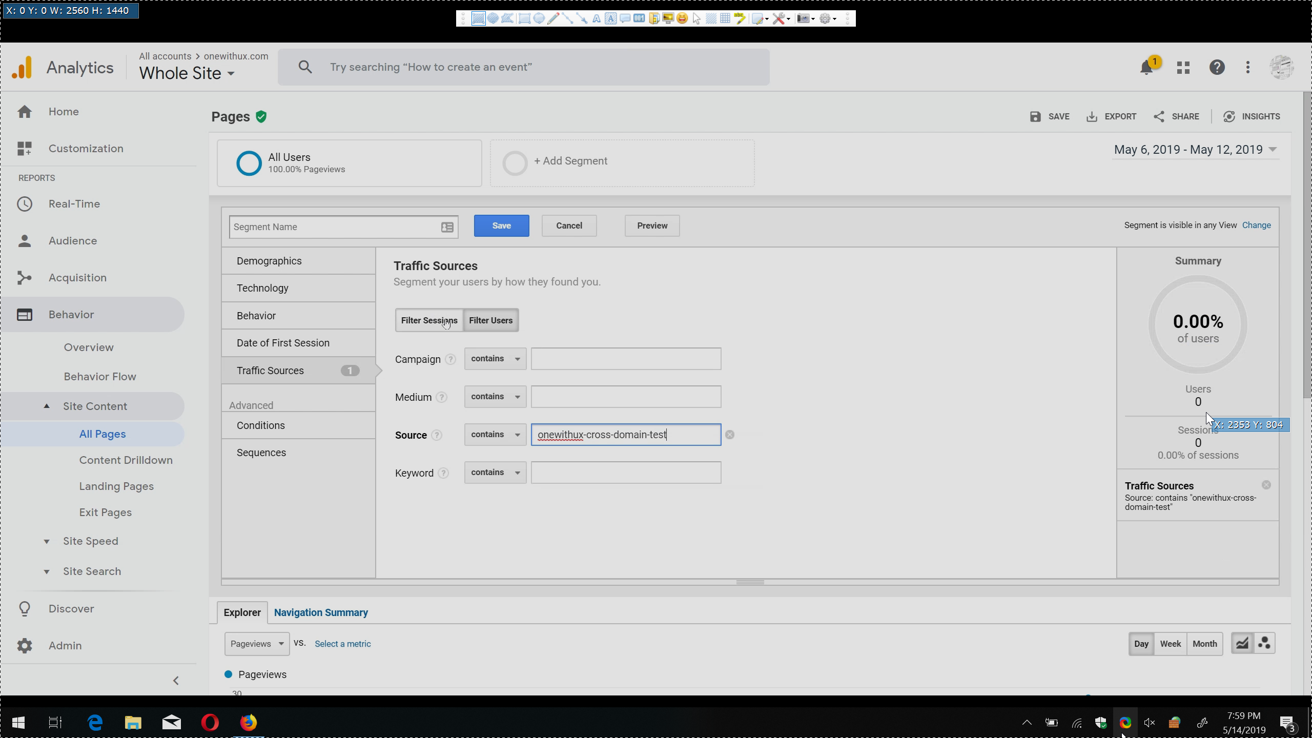creating a google analytics acquisition segment using a UTM to test whether cross domain tracking is properlly set up